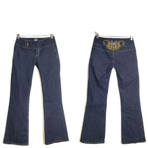 Vintage Flare Leg Gold Applique Dark Wash Jeans 2